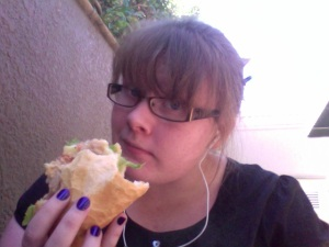 Me, with a sandwich.  Hopefully slightly prettier.