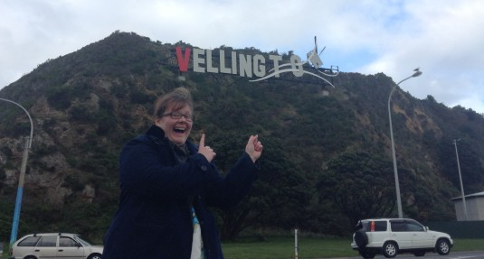 "Me at the ""Vellington"" sign."